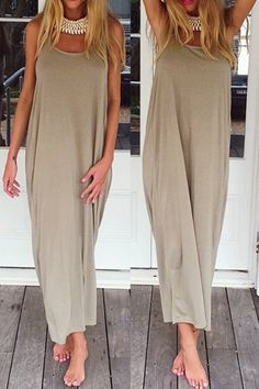 Backless Solid Color Ruffle Sleeveless Maxi Dress