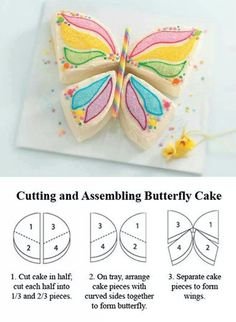 Easy cutting and assembling butterfly cake