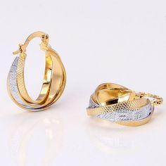 14K Yellow Gold Filled Women's Ladies Earrings .98 inches long Hoop Drop #DropDangle
