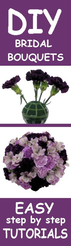 Purple Wedding Bouquets - Easy Wedding Flower Tutorials  Learn how to make bouquets, corsages, boutonnieres, centerpieces and church decorations.
