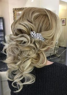 Gorgeous loose curls updo wedding hairstyle with jewel glam hairpiece; Featured Hairstyle: ElStyle