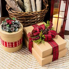 Deck the halls with faux greenery and berry picks this season to add a natural element to holiday decor! Deck the halls with faux greenery and berry picks this season to add a natural element to holiday decor! Christmas Presents To Make, Homemade Christmas Gifts, Christmas Gift Wrapping, Rustic Christmas, Christmas Holidays, Christmas Crafts, Christmas Decorations, Holiday Decor, Tartan Christmas