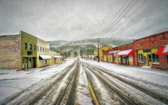 first street on a snowy  day . fort payne .alabama