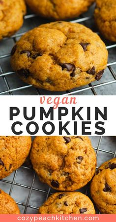 Easy to make in one bowl, these vegan pumpkin chocolate chip cookies are soft, chewy and perfectly pumpkin spiced! Easy to make in one bowl, these vegan pumpkin chocolate chip cookies are soft, chewy and perfectly pumpkin spiced. Vegan Treats, Vegan Foods, Vegan Dishes, Vegan Pumpkin Cookies, Pumpkin Chocolate Chip Cookies, Healthy Vegan Cookies, Vegan Christmas Cookies, Biscuits Végétaliens, Vegan Thanksgiving