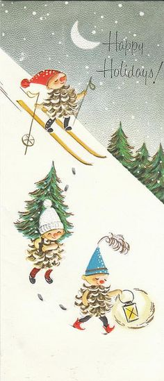 Winter Sledding Christmas tree cutting Happy Holidays pine cone people in the snow vintage greeting card image! Vintage Christmas Images, Retro Christmas, Vintage Holiday, Christmas Pictures, Christmas Art, Christmas Greetings, Old Time Christmas, Old Fashioned Christmas, Illustration Noel