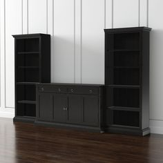 Cameo 3-Piece Modular Bruno Black Media Entertainment Center - Crate and Barrel