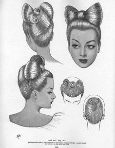 Bow hair I love love love anything vintage style. The Bow in the hair with the victory rolls in the back is SO pin-up! I love it :) bibi Pin Up Hair, Big Hair, Vintage Hair Bows, Vintage Makeup, Retro Makeup, Vintage Beauty, Lady Gaga Hair, Hj History, 1940s Hairstyles