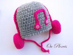Crochet baby hat hat with headphones crochet baby от Ouplexeis