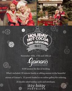 We are so excited to announce our last mini-session event until spring  hosted in the beautiful atrium of Gainan's!Put on some festive clothes, come have a cup of hot cocoa, then knock your neighbors socks off with the best holiday cards around!Check out all the details…