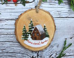 Wooden Christmas Ornament: Sparkle Fir Tree by AliceCEades on Etsy