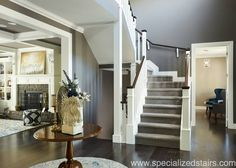 Southern Railing | Traditional Stairs | White Stairs | Entry | Newel Post | Square Wood Baluster | Wood | Specialized Stair and Rail | Custom Newel Posts | www.customnewelpost.com