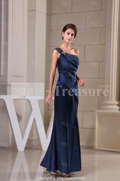 Dark Navy Fit-and-Flare Ankle-Length Long Elastic Silk-like Satin Bridesmaid Dress. I'd have my mom wear it.