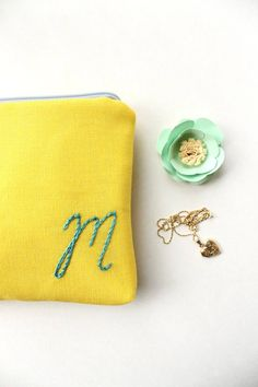 monogrammed cosmetic pouch yellow   monogrammed bridesmaid gifts