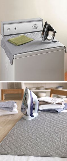 Because I hate dragging out the ironing board- Magnetic Ironing Mat, turns your washer/dryer into an ironing board, then folds up after. Space saving item! #product_design