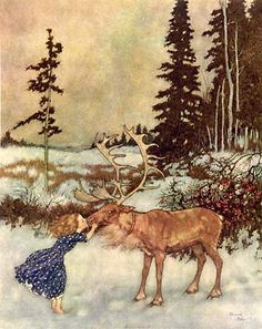 "Edmund Durlac, Gerda and the Reindeer by Hans Christian Anderson.    ""..And the Reindeer told her the whole of Gerda's history, but first of all his own; for that seemed to him of much greater importance. Gerda was so chilled that she could not speak."""
