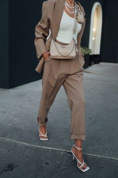 Chic and stylish spring fashion outfit - love this neutral oversized pant suit. Put on a white tank under and completed with my favorite accessories - Bottega Veneta white leather sandals and Prada nylon bag Fashion Mode, Work Fashion, Womens Fashion, White Fashion, Fashion Pants, Classy Outfits, Chic Outfits, Stylish Winter Outfits, Woman Outfits