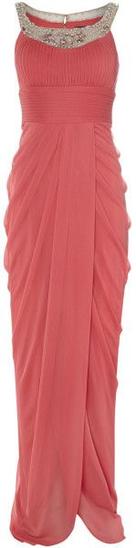 Adrianna Papell Pink Embelished Neck Full Length Gown