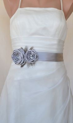 Handcraft Grey Two Flowers With Feathers Wedding by elitewomen, $39.50 - This gorgeous Bridal Sash Is handmade with satin fabric, rhinestone, pearls, feather and lace. Low price but high quality, Sash ribbon size measures 3 yards , please let me know if you would like to customize shorter or longer length. It is handmade so every is different and unique! Contact me if you would like a different design or color