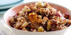 Find perfect Thanksgiving turkey stuffing recipes from Food Network, like the Barefoot Contessa& Sausage and Herb Stuffing. Best Stuffing, Turkey Stuffing, Thanksgiving Stuffing, Stuffing Recipes, Turkey Sausage, Thanksgiving Recipes, Holiday Recipes, Dinner Recipes, Holiday Meals