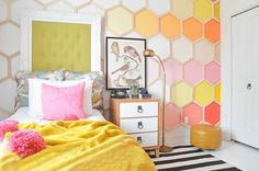 You better believe this honeycomb statement wall is DIY.