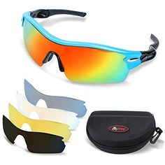 f0d0582a57b Wiltop Sports Sunglasses Unisex Polarized Cycling Glasses with 5 Colour  Lenses Men Women Cycling Baseball Running