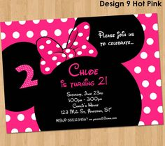 Minnie Mouse Invitation Printable Birthday door KidsPartyPrintables