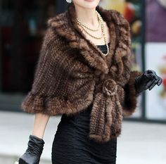 I don't need to wear animal fur but I love the style of this cape/shawl. NEW Real Knitted MINK Fur Coat Jacket cape Poncho Spring sexy top quality