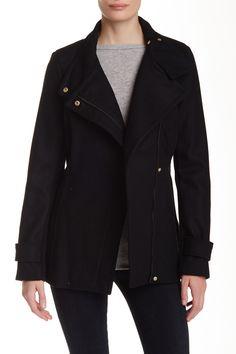 Belted Asymmetrical Wool Blend Zip Jacket by Rachel by Rachel Roy on @nordstrom_rack