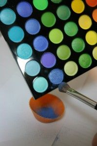 How to mix eyeshadows to make your own color nail polish. I have a palette that I now have an actual use for.....