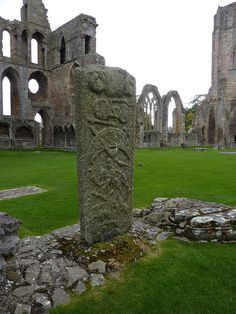 Pictish stone at Elgin Cathedral. There's a Pictish stone in the cemetery in Dingwall, Scotland. #scotland