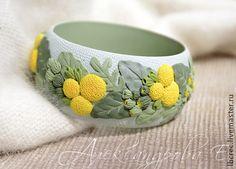 """Браслет """"Краспедия"""" - широкий браслет,цветочный,летний,жёлтый,зелёный"""