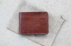 Leathercraft Horween bifold wallet, horsehide Chromexcel - gifts for deer hunters - handmade Australia leather wallet - $110