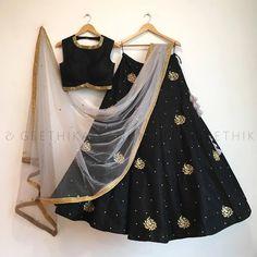 Indian Stunning Black Colored Partywear Embroidered Tapeta Silk Lehenga Choli F Lehenga Crop Top, Black Lehenga, Indian Lehenga, Lehenga Choli, Heavy Lehenga, Anarkali, Sarees, Indian Wedding Outfits, Indian Outfits