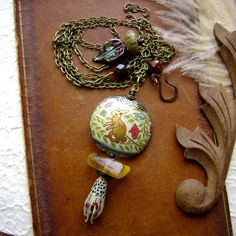 The Cat and The Hare assemblage necklace by AnvilArtifacts on Etsy