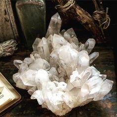 Large Quartz Cluster / Huge Natural Crystal Cluster / by FoxLark Crystal Magic, Clear Quartz Crystal, Crystal Healing, Minerals And Gemstones, Rocks And Minerals, Quartz Cluster, Crystal Cluster, Natural Crystals, Stones And Crystals