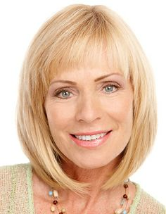 A medium blonde straight mature coloured bob hairstyle by Mature Web Collection