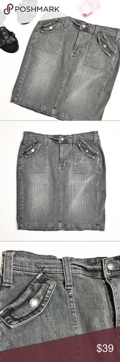 """Vintage Tommy Hilfiger Jean Skirt Vintage Tommy Hilfiger denim skirt is a gray color.  Pull on styling with zip fly and button closure.  Back vent.  In very good condition.  Material tag has been listed.  Measurements laid flat: Waist:  16"""" Hip:  19"""" Length:  19.5"""" *Measurements are approximate. Tommy Hilfiger Skirts"""