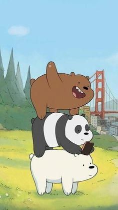 Image about panda in We bare bears 🐻🐼✨ by G o l d_R a i n* ヽ(・∀・)ノ Cute Disney Wallpaper, Kawaii Wallpaper, Cute Cartoon Wallpapers, Wallpaper Iphone Cute, Wallpaper Backgrounds, Ice Bear We Bare Bears, We Bear, We Bare Bears Wallpapers, Bear Wallpaper