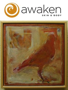 """""""Perch 3"""" 12 X 12 Mixed media on wood panel by Asheville artist,  Linda McCane Gritta. Paired with a Signature Facial at Awaken Skin."""