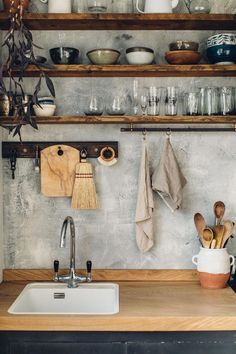 hand-built kitchen in east sussex. open wood kitchen shelving with white-washed concrete backsplash. / sfgirlbybayopen wood kitchen shelving with white-washed concrete backsplash. Home Decor Kitchen, Diy Kitchen, Kitchen Interior, Home Kitchens, Kitchen Rustic, Kitchen Decorations, Kitchen Ideas, Decorating Kitchen, Recycled Kitchen