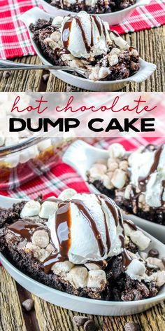 Hot Chocolate Dump Cake is a favorite for any chocolate lover!  This easy chocolate cake topped with marshmallows is perfect during the holidays or anytime of year! via @domesticallyspeaking