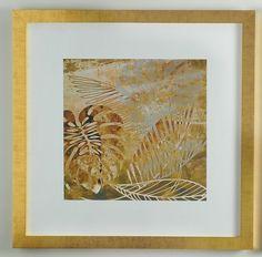 8dad765bb Quadro Abstrato Grande - Folha Costela de Adão Dourada 1