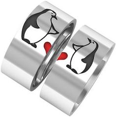 Couples Ring Set Penguins And A Heart Couples Ring Set perfect for Valentine's day or to ask her if she wants to marry you.Penguins And A Heart Couples Ring Set perfect for Valentine's day or to ask her if she wants to marry you. All About Penguins, Cute Penguins, Engagement Rings For Men, Antique Engagement Rings, Pinguin Illustration, Penguin Wedding, Penguin Love, Ring Set, Couple Rings