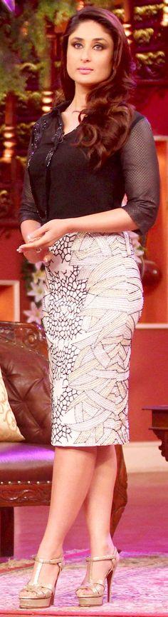 Kareena Kapoor looking elegant in a Namrata Joshipura top and a Zara Umrigar embellished pencil skirt