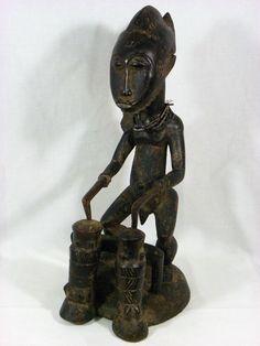 Superb African Art BAULE Ancestor Playing Drums Figure