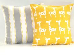 "Baby Bedding Nursery Home Decor Gray and White Stripe and Yellow Dots and Yellow Giraffes Pillow Covers 18"" x 18"" set of 2. $32.00, via Etsy."
