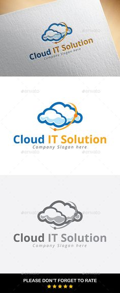 Cloud IT Solution Logo Template (AI Illustrator, Resizable, CS, amazing, anstract, blue, branding, cloud, fast, host, identity, it, logo, modern, multicolour, professional, solution, unique, vector, white)