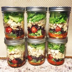 Buffalo Chicken Salad Mason Jar: Layer from bottom to top:  healthy buffalo sauce of choice, broccoli, cherry tomatoes, black beans (drained), antibiotic free chicken breast (baked and seasoned), as much organic lettuce as you can stuff in, and natural Bleu Cheese crumbles.
