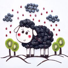#fruits #foodart #art #idea #creative #sheep #black #cute #nice #berries #kiwi #blueberries #pomegrante