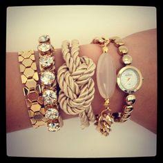 Love Rocks rhinestone Friendship Bracelet - 24k gold plated. $28.00, via Etsy.